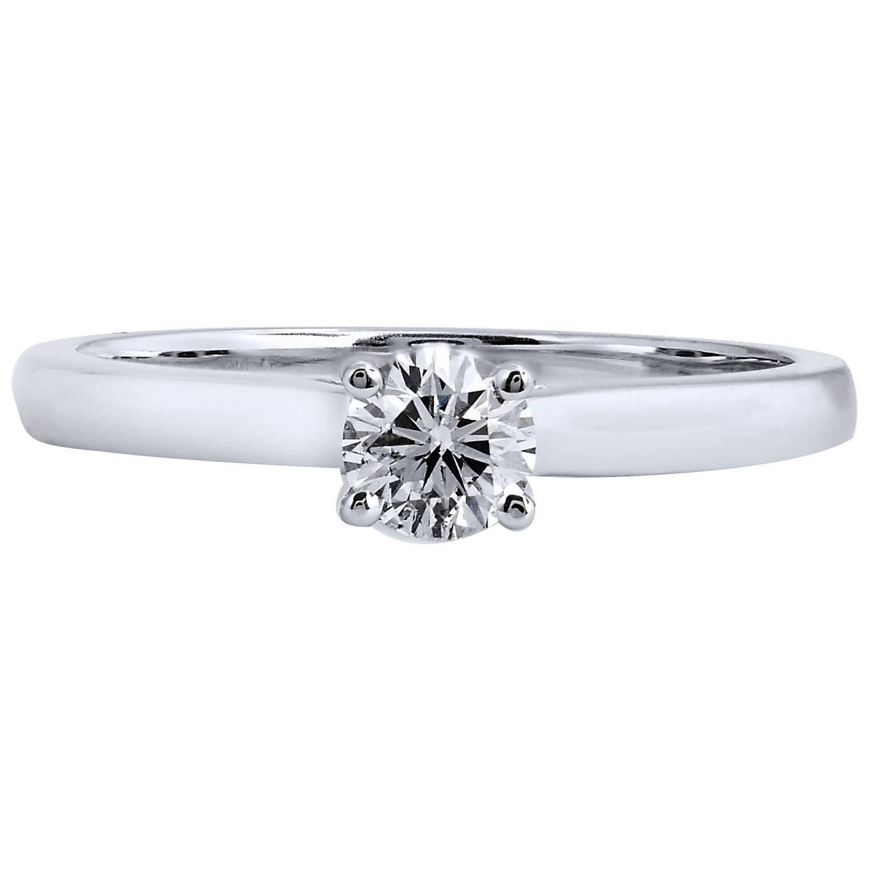 0 34 Carat Round Brilliant Cut Diamond Solitaire Gold Engagement