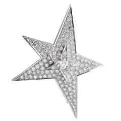 Chanel Comete Diamond Gold Brooch Necklace