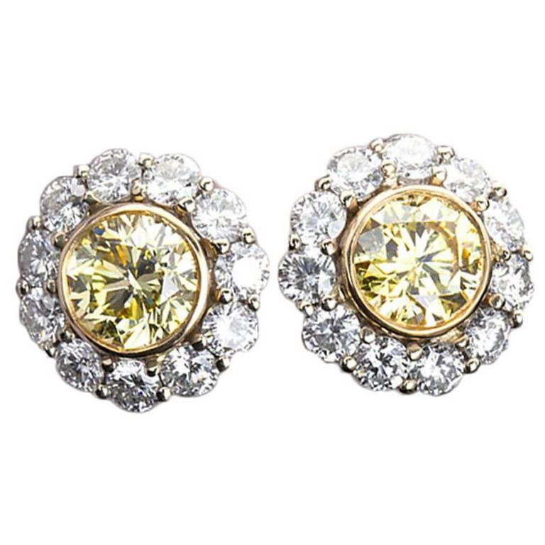 Fancy Yellow GIA Diamond Halo Cluster Earrings Studs For Sale