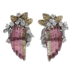 Tourmaline Diamonds Two-Color Gold Earrings