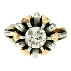 Retro Diamond Solitaire Gold Ring