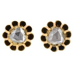 Victorian Rose Cut Diamond Gold Stud Earrings