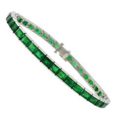Art Deco Waslikoff Emerald platinum Line Bracelet