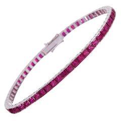 12.05 Carats Burma Rubies Gold Line Bracelet