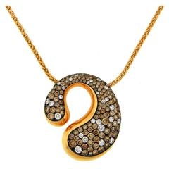 De Grisogono Cognac and White Diamond Rose Gold Pendant Necklace