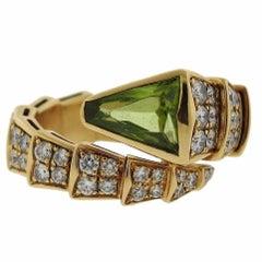 Bulgari Serpenti Peridot Diamond Gold Coil Ring