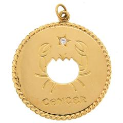 1970s Cartier Diamond Yellow Gold Cancer Zodiac Pendant
