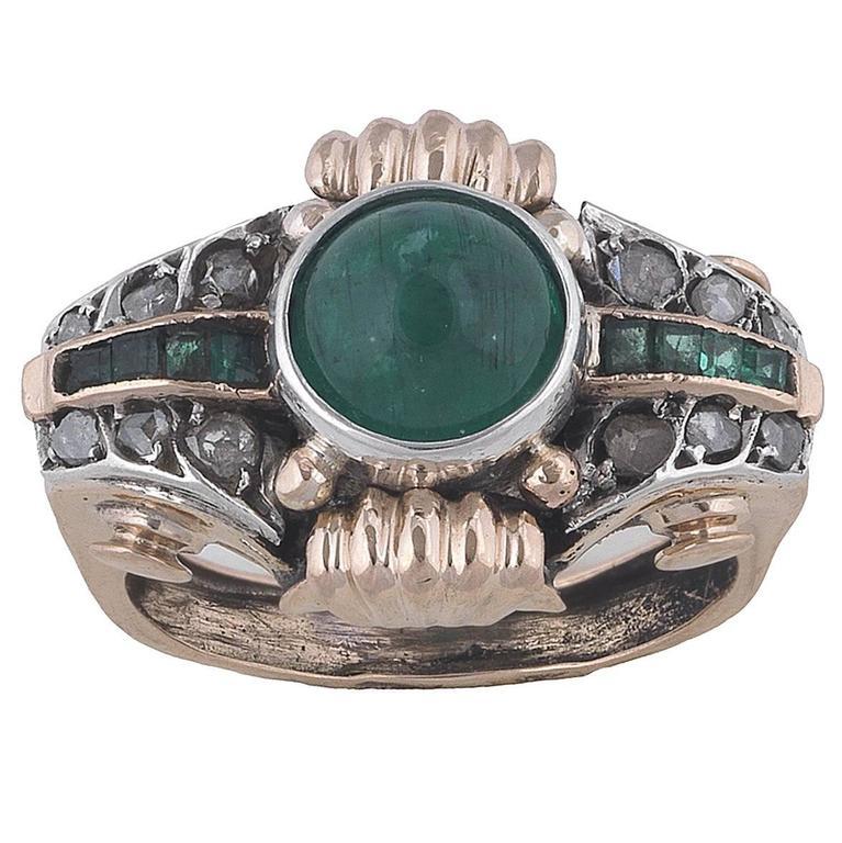 1940s Emerald Diamond Gold Platinum Retro Dress Ring