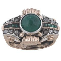 1940s Emerald Diamond Gold Platinum Retro Dress Ring