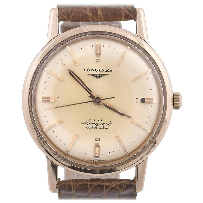 Longines Rose Gold Conquest Automatic Wristwatch