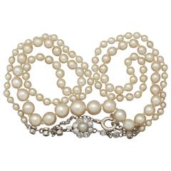 1920s Single Strand Pearl and 0.37 Carat Diamond Necklace with Palladium Clasp