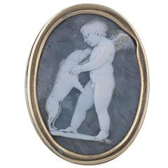 Antique Late 16th Century White on Blue Grey Shell Cameo of Cupid and the Dog