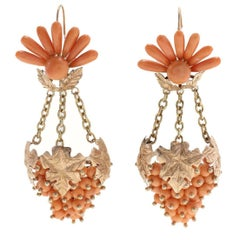 Orange Coral, Rose Gold Chandelier Grape Fruit Earrings