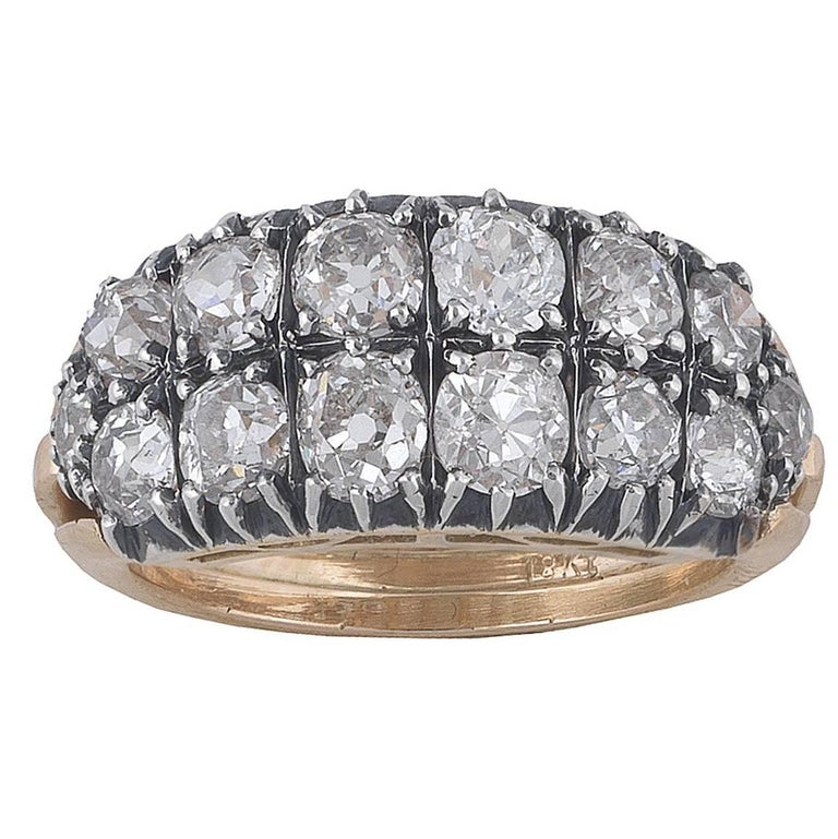1870s Antique Diamond Silver Gold Two Row Band Ring For Sale