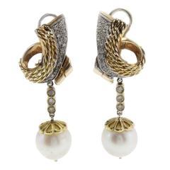 Luise Diamonds and Australian Pearls Earrings