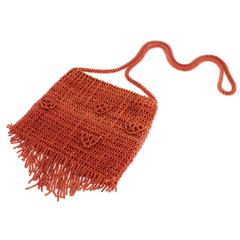 Coral Bead Woven Purse Bag