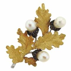 Buccellati Pearl Sterling Silver Gold Leaf Brooch Pin