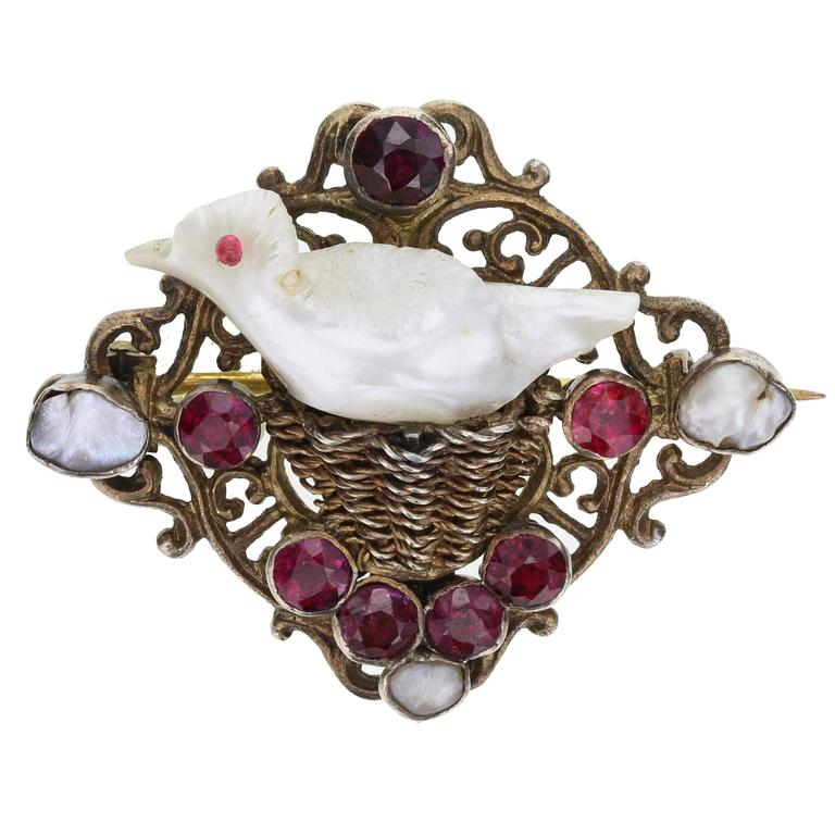 Antique Georgian Natural Pearl Garnet Bird Brooch