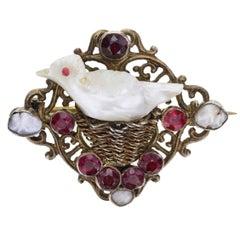 Antique Georgian Natural Pearl Garnet Bird Brooch