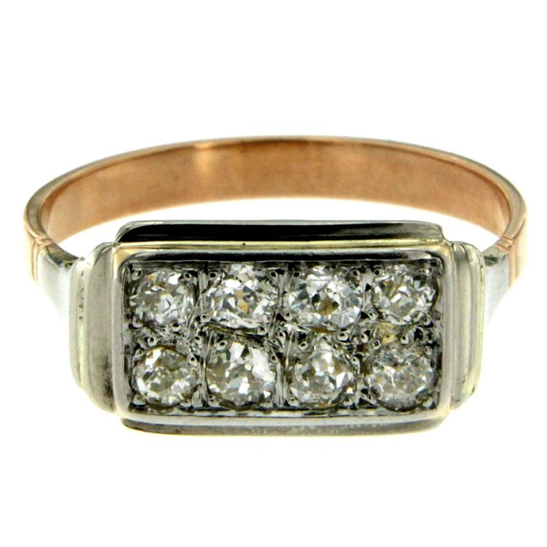 Retro Diamond Gold Plaque Ring