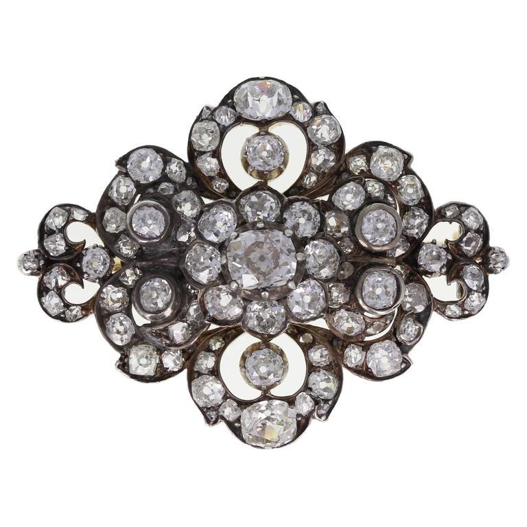 Antique English Victorian Old Cut Diamond Brooch
