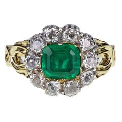 Antique Victorian Emerald Old Cut Diamond Gold Ring