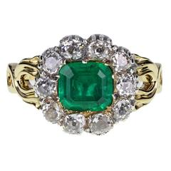 Antique Victorian Emerald Old Cut Diamond Gold Ring