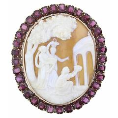 Antique Victorian Maidens at Temple of Love Shell Cameo Garnet Gold Brooch