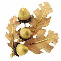 Buccellati Sterling Silver Gold Leaf Acorn Brooch Pin