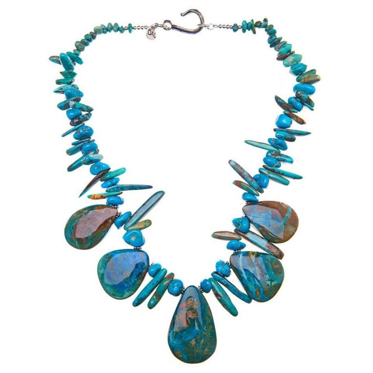 Deborah Liebman Chinese Opals Turquoise Sterling Silver Necklace For Sale
