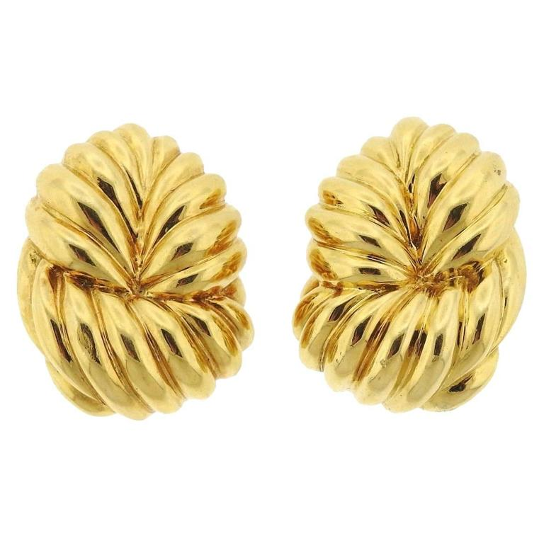 David Webb Gold Large Knot Earrings