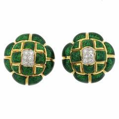 David Webb Quilted Green Enamel Diamond Gold Earrings