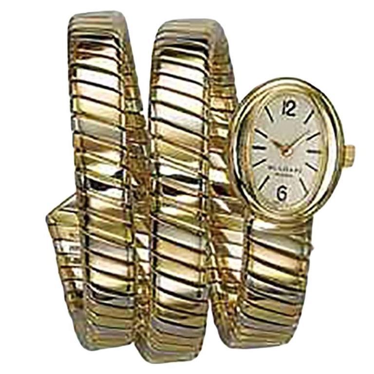 Bulgari Lady's Tricolor Gold Tubogas mechanical Wristwatch  For Sale