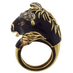 Frascarolo Modele Depose Enamel Diamond Gold Bull Ring