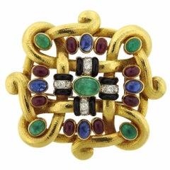 Impressive David Webb  Diamond Gemstone Gold Platinum Brooch Pendant
