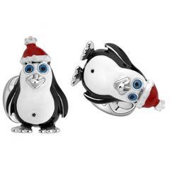 Deakin & Francis Sterling Silver Enamel Christmas Penguin Cufflinks