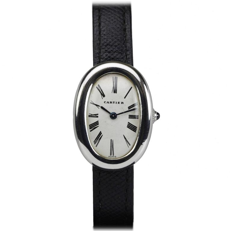 rare cartier ladies platinum baignoire wristwatch for sale at 1stdibs. Black Bedroom Furniture Sets. Home Design Ideas