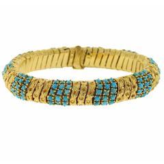 1960s Pomellato Turquoise Gold Bracelet