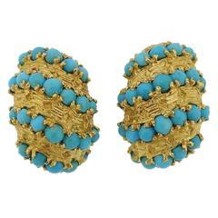 1960s Pomellato Turquoise Gold Earrings