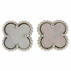 Van Cleef & Arpels Sweet Alhambra Mother of Pearl Gold Stud Earrings