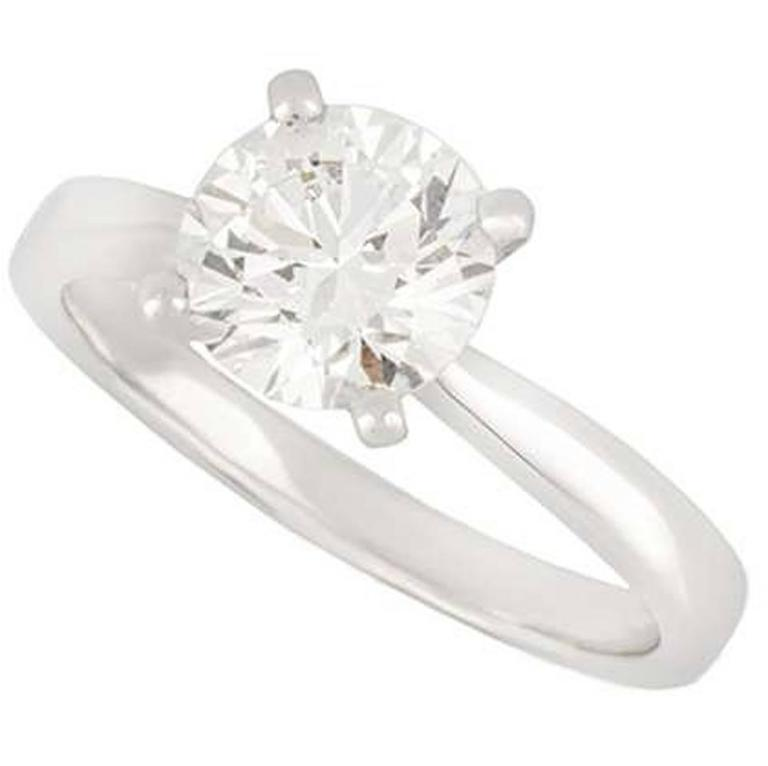 GIA Certified Round Brilliant Cut Diamond Ring 1.60 Carat