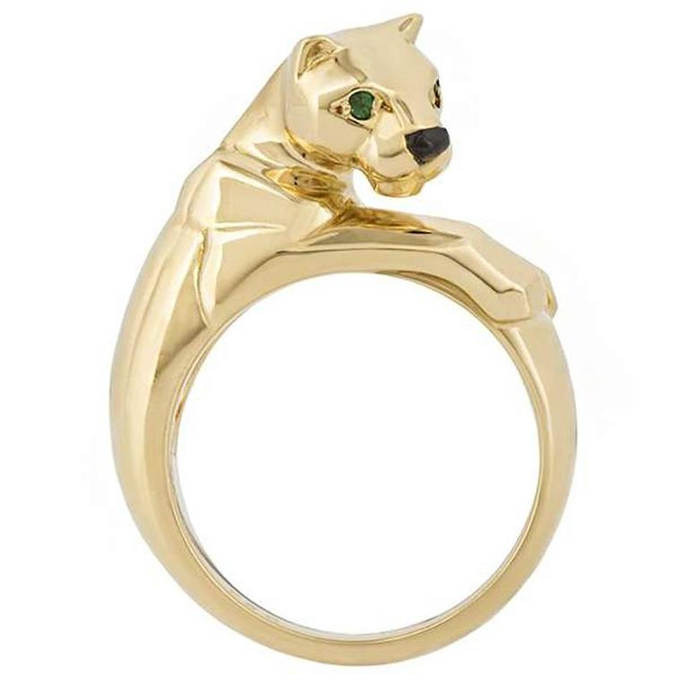 cartier panther ring gold and emerald at 1stdibs