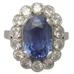 9.53 Carat Ceylon Sapphire and 2.58 Carat Diamond White Gold Ring