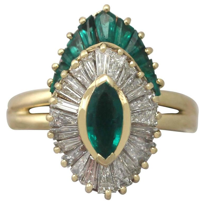 1990s Emerald Diamond Yellow Gold Cocktail Ring