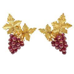 Buccellati Fancy Carved Ruby Gold Earrings
