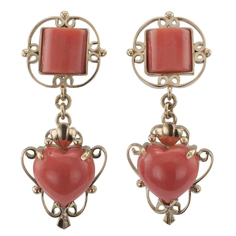1950s Coral Gold Pendent Earrings