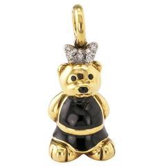 Aaron Basha Enamel Diamond Bear Charm Pendant