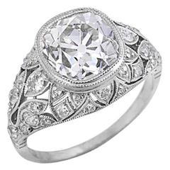Extraordinary Art Deco 3.40 Carat Diamond Platinum Engagement Ring