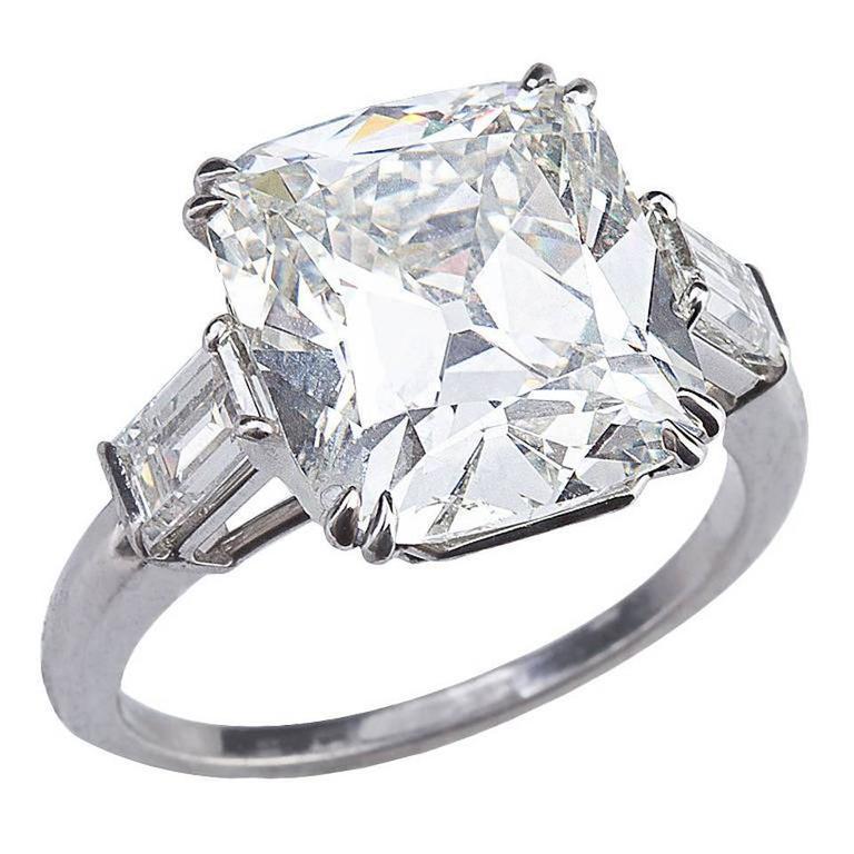 Brilliant Cushion Cut 6.53 Carat GIA Certified Diamond Platinum Engagement Ring 1