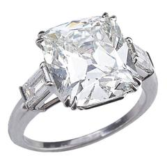 GIA Certified Brilliant Cushion Cut 6.53 Diamond Platinum Engagement Ring
